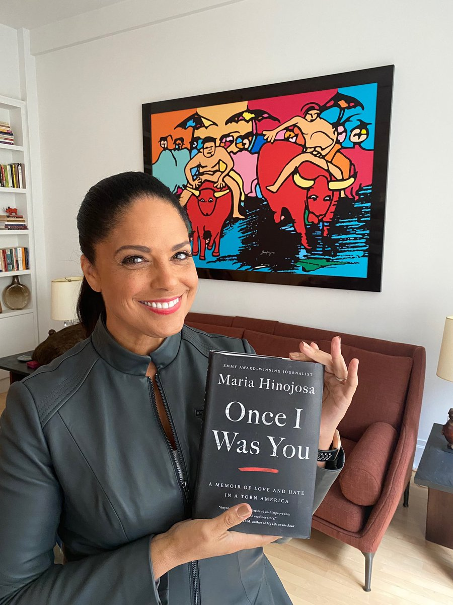 """""""Reading María's amazing book and standing in front of a painting done by her wonderful husband! Talented familia!"""" — @soledadobrien @AtriaBooks #OnceIWasYou #OnceIWasYouTakeover ✨📚 @simonschuster"""