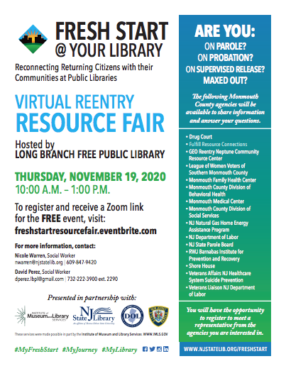 The Fresh Start @ Your Library Virtual #Reentry Resource Fair will now be held on November 19. To register and receive a Zoom link for the FREE event, visit: https://t.co/LqK9Sr5Z6m #MyFreshStart #MyJourney #MyLibrary @LBPublicLibrary https://t.co/Tr720Tx1Wv