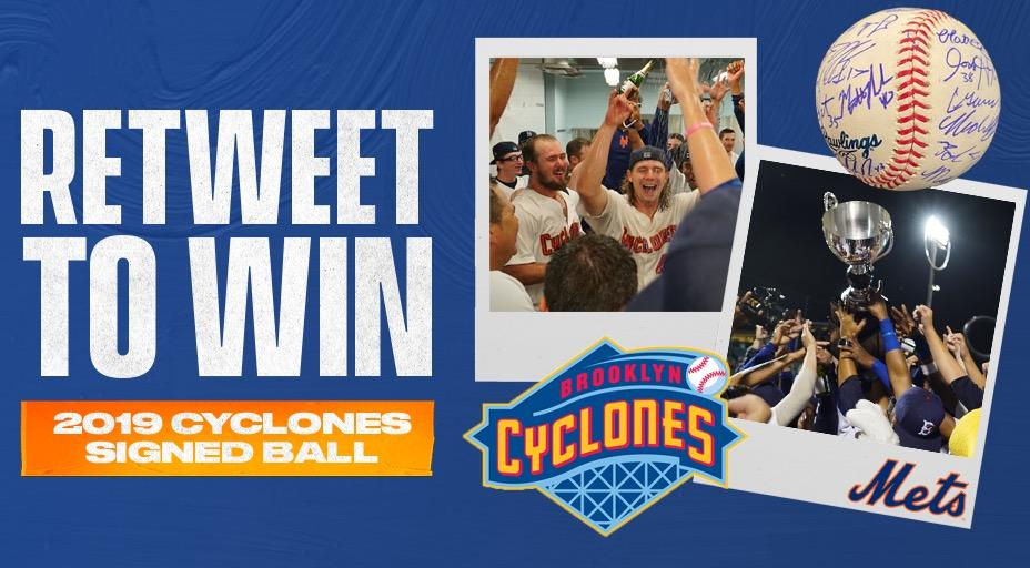 RT this and 𝕗𝕠𝕝𝕝𝕠𝕨 us for your chance to win a 2019 @BKCyclones team signed ball from their championship season. #LGM #Mets #RTtoWin #Sweepstakes #Prize #Giveaway #Freebie #Win