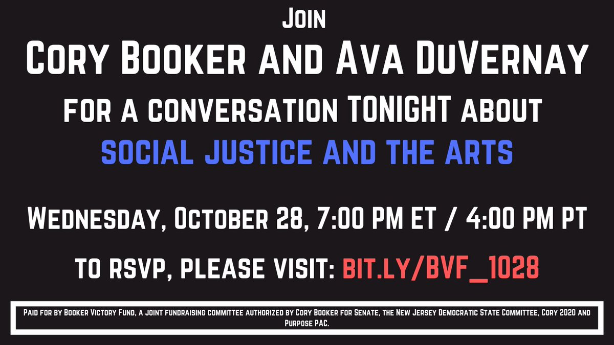 Im excited to be talking to @Ava DuVernay tonight about Social Justice and the Arts. Please join: bit.ly/BVF_1028