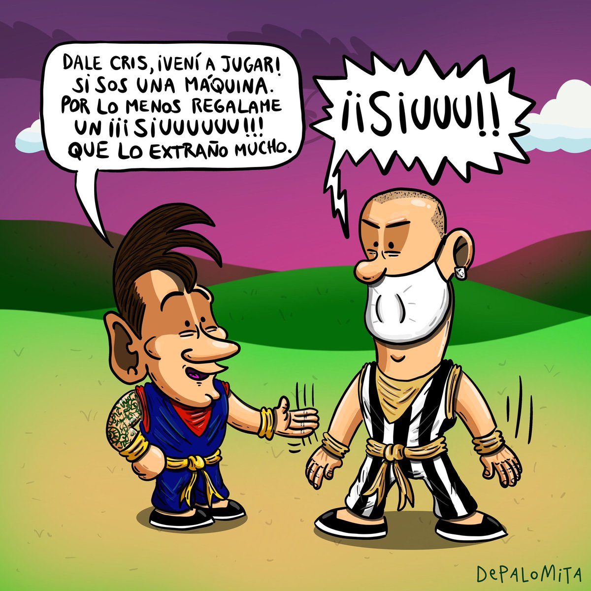 La Pulga extraña jugar contra Cris. 🐉🟠  #eldiariodelapulga #leomessi #cristiano #fcbarcelona #juventus #champions #cr7 #messi #dragonball #cartoon #caricatura #humor #depalomita https://t.co/gsyRYOZ572