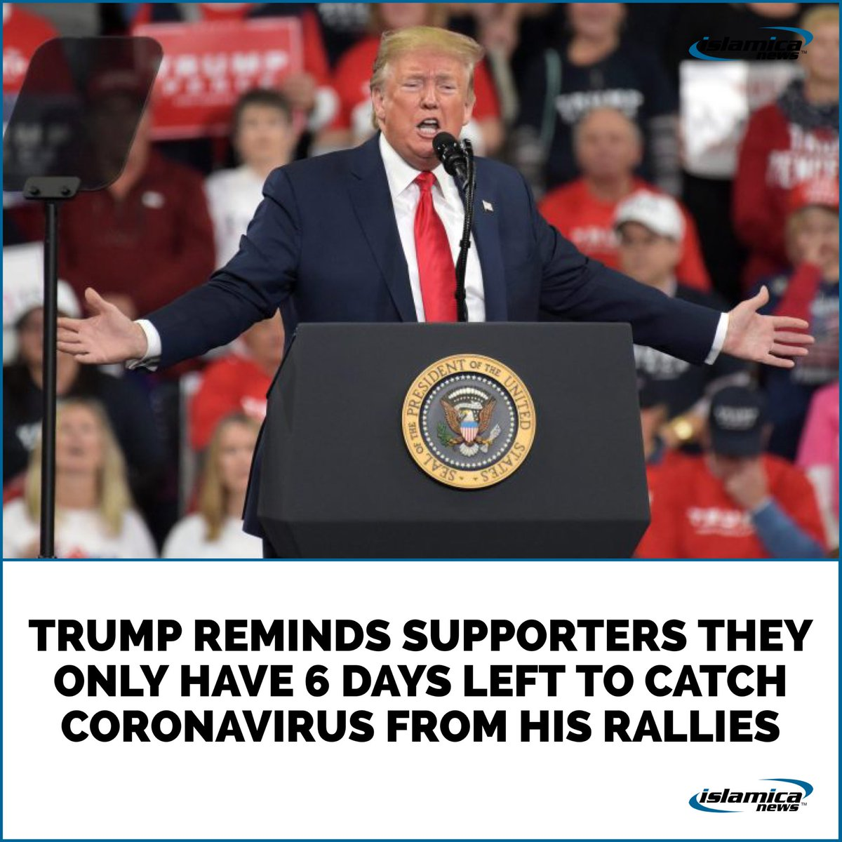"""""""I didn't want to be in this state, but how else could I recklessly expose you to the China virus?"""" rhetorically asked Trump to a densely packed, mask-free crowd primed for inoculation.  #maga #bidenharris2020 #trumpmemes #theonion #comedy #snl #humor  #funny #vote #election2020 https://t.co/6t1UKZTka0"""