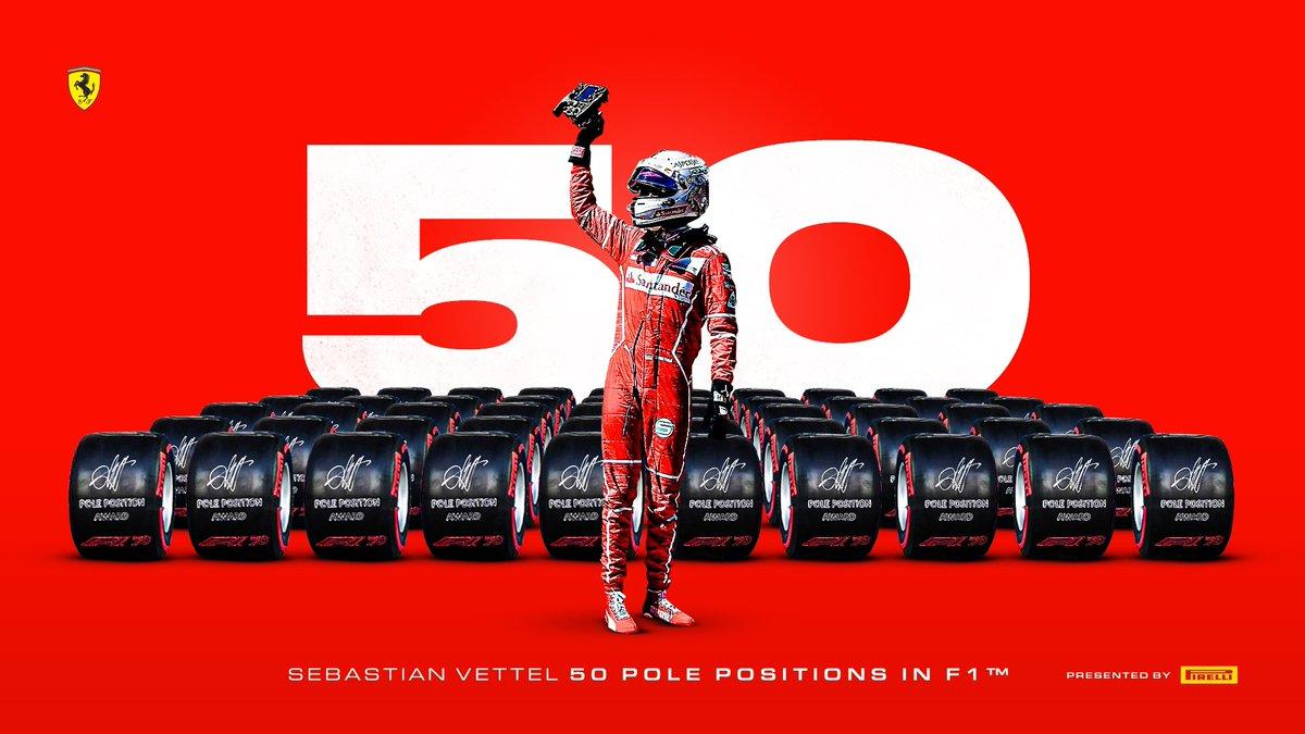 Consolidándose en la historia ✨ #OnThisDay un día como hoy en el Gran Premio de Mexico #MexicoGP 🇲🇽 2017, #Seb5 🇩🇪 se convirtió en el cuarto piloto en alcanzar 5️⃣0️⃣ Pole Positions en #F1 🏁  Presentado por Pirelli Motorsport ⭕️  #essereFerrari 🔴 #SFCCostaRica 🇨🇷 https://t.co/TirJtbMEIv