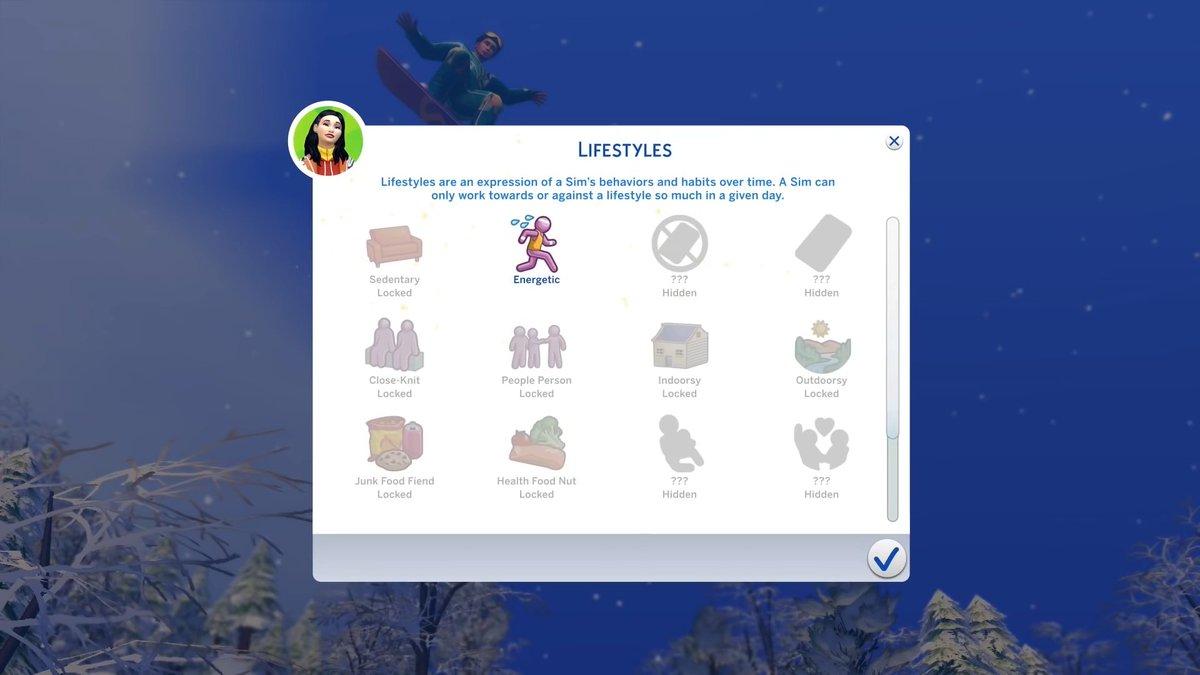Algunos de los Estilos de Vida que podemos ver en el tráiler de Los Sims 4 Escapada en la Nieve:  ✅Sedentario ✅Energético ✅Amigable / Social ✅Disfruta el aire libre ✅Disfruta estar encerrado ✅Fan de la comida chatarra ✅Loco por la comida sana  ¿Qué les parecen? https://t.co/RFqXDpMsz3