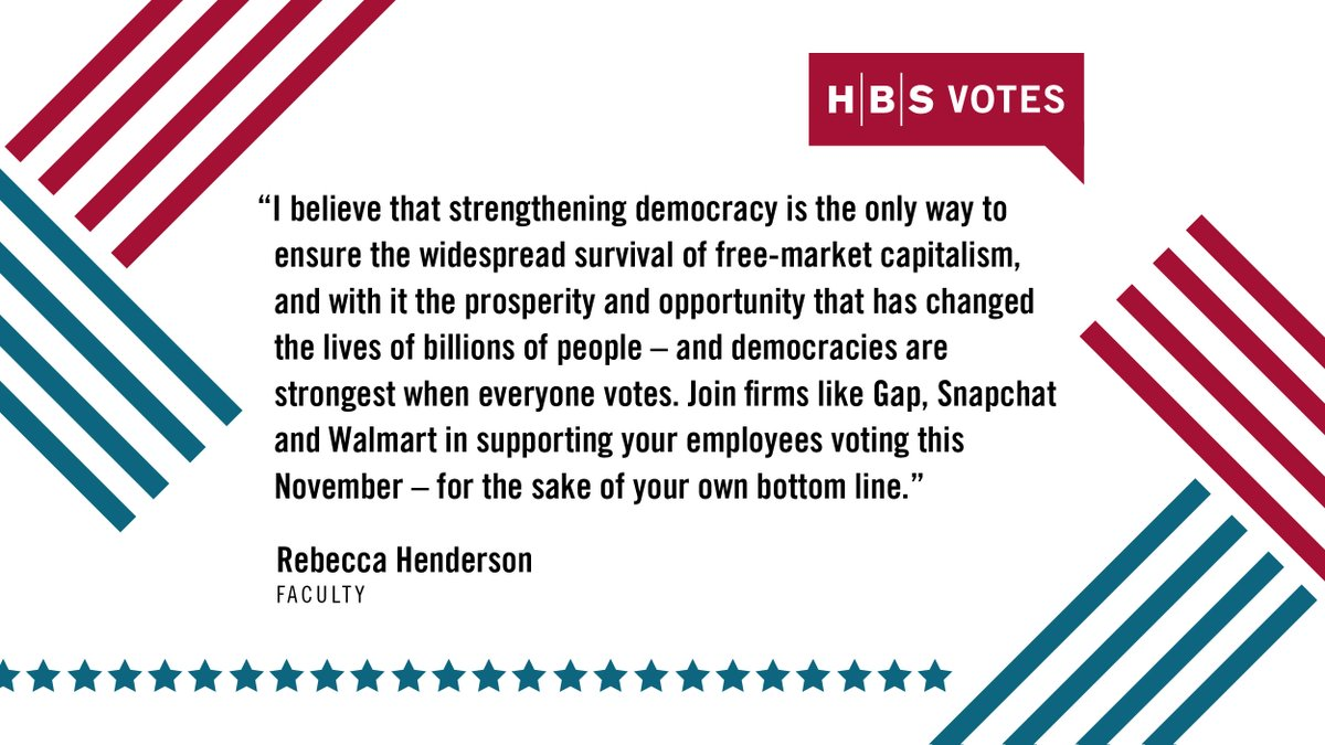 """I believe that strengthening democracy is the only way to ensure the widespread survival of free-market capitalism."" —@RebeccaReCap  With the #election less than a week away, reflect on the role that #business leaders have in sustaining #democracy: https://t.co/oGsTJndqYg https://t.co/0genNwx48K"