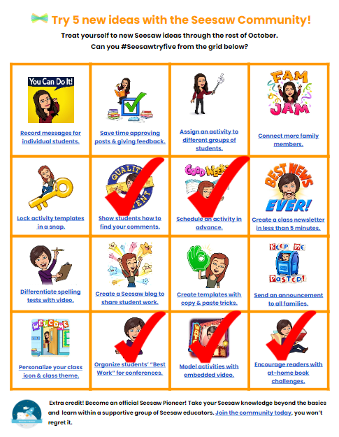 """I completed the #Seesawtryfive challenge today. My favorite was """"Organizing Students Best Work for Conferences."""" Super great idea and very timely for our upcoming parent meetings. Find your five here:  https://t.co/RcwBbshT2t. @Seesaw https://t.co/xf0jKvIgYp"""