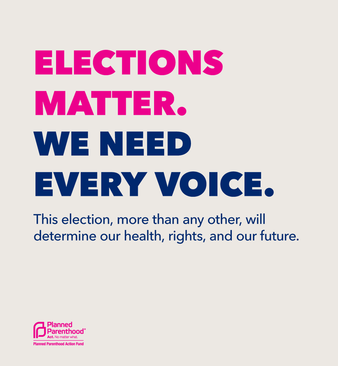 Voting shapes our lives and has lasting effects. This election, in particular, will determine our health, rights, & our future. It's up to us to decide. We need every voice. Make a plan to vote and be heard: Text PLAN to 22422 #WeNeedEveryVoice https://t.co/wN325AdqzQ