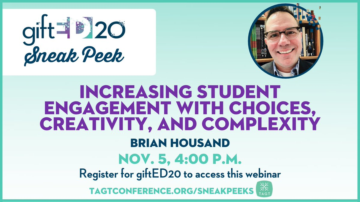 Are you registered for #giftED20? Check your inboxes for instructions on how to join the Nov. 5 webinar with @brianhousand! Not yet registered? Register today to ensure you have access to this outstanding bonus webinar with the giftED20 featured speaker! https://t.co/YJ7urc93Ic https://t.co/bWAgxx8q7D