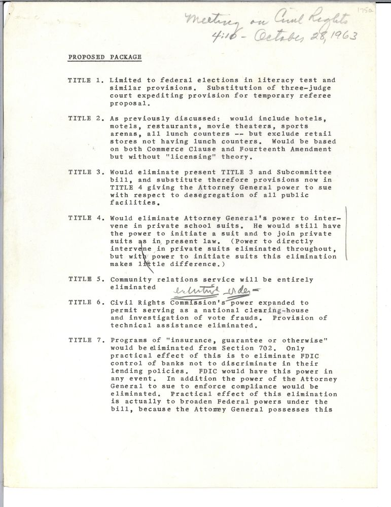 October 28, 1963, 4:05 - 5:10 pm  Off the record meeting on civil rights legislation. 📄: https://t.co/HEuKvcw1zp  #otd #tdih #JFKonThisDay https://t.co/eV3BIki0x4