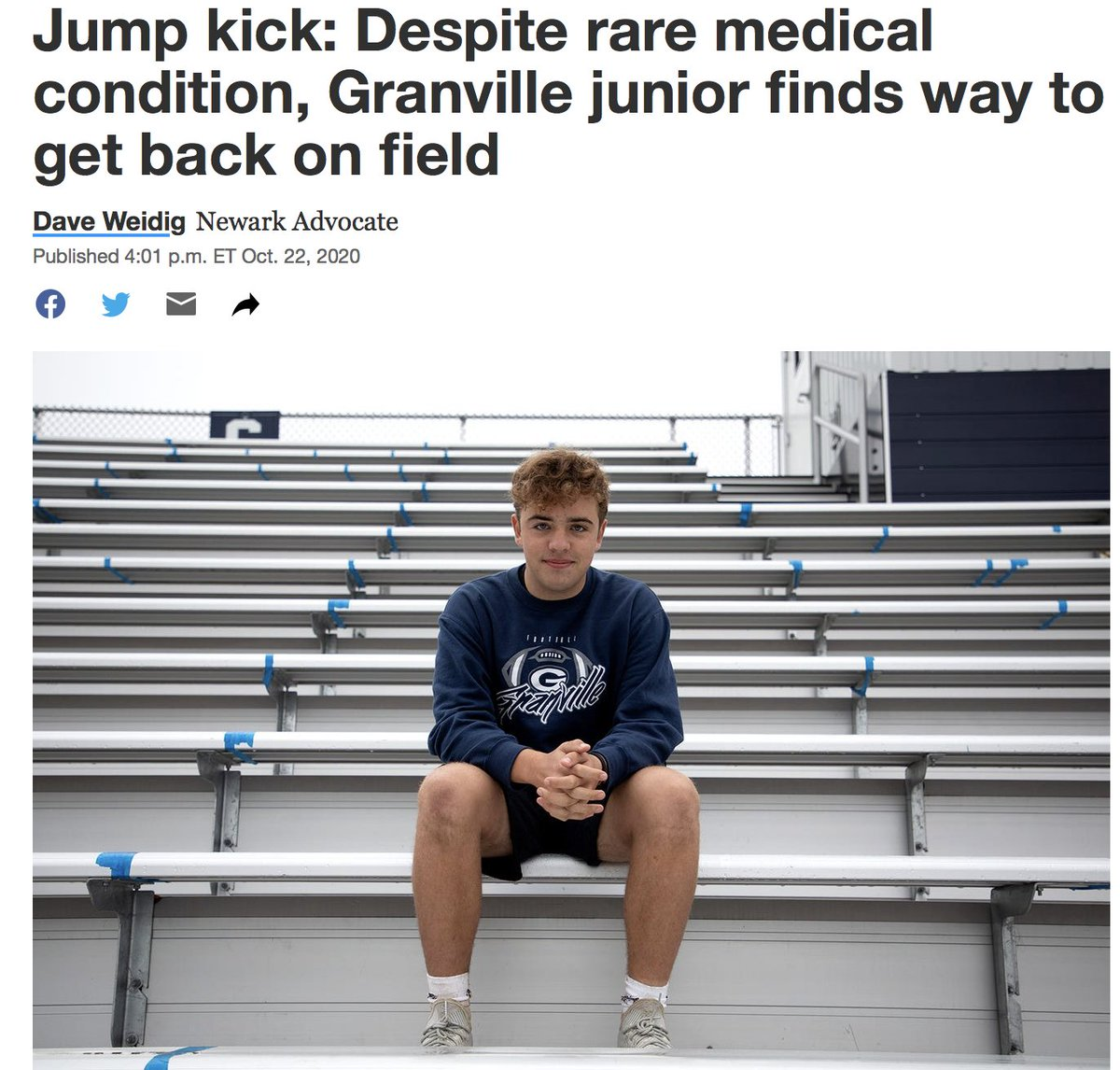 Great for the brand @PatMcAfeeShow  This is a great story on our local kicker @GV_Blue_Aces  Give it a read brother!  Article by @NewarkAdvocate  https://t.co/r4SexYjylR https://t.co/lEDtE8Z2re