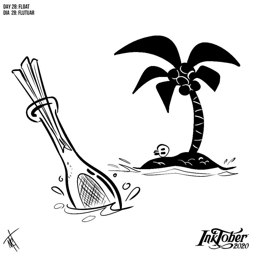 28/31: Float/ Flutuar  Náufrago.  #inktober2020 #inktoberbrasil #inktober #desenho #ilustração #desafio #drawing #artwork #illustration #challenge #instaart #art #digitalart #float #flutuar https://t.co/fggyhsUTE8