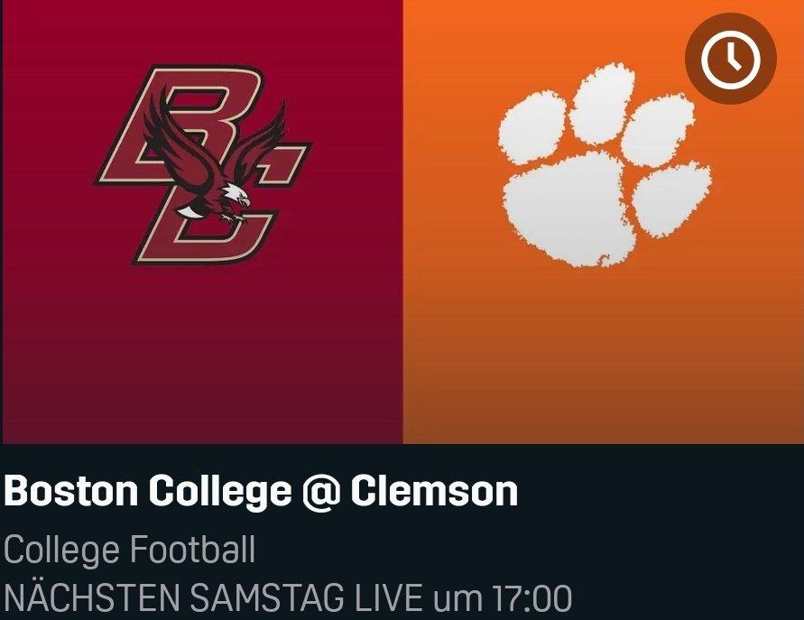 #Servicetweet am Mittwoch  College Football am Samstag live auf @DAZN_DE   17.00 Uhr Boston College @ Clemson 20.30 Uhr Notre Dame @ Georgia Tech 00.30 Uhr Ohio State @ Penn State https://t.co/6RdtwLA7DH