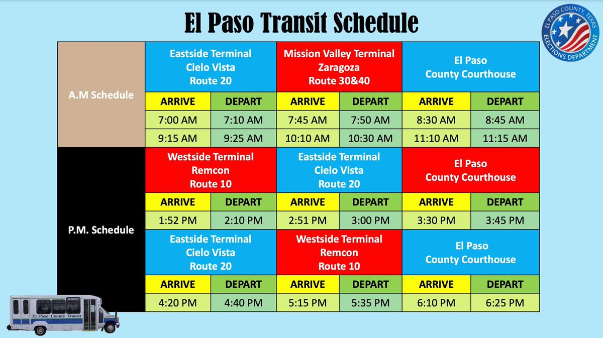 DID YOU KNOW: El Paso County is providing free routes to and from the County Courthouse during Early Voting?  Get more information on early voting and make a plan at https://t.co/t6Q1M0Kcht! #MyVoteIsEssential https://t.co/N0ugNRb11I