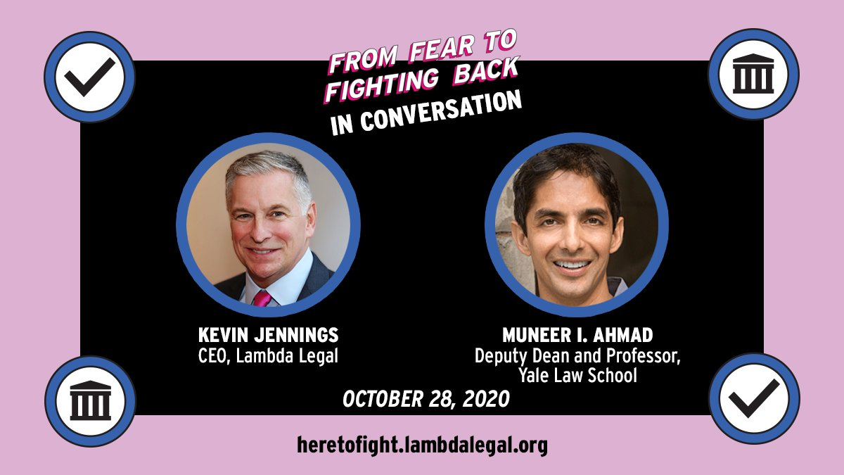 🔴 WATCH NOW! Our CEO @KJennings joins @YaleLawSchs @muneer_ahmad for the second episode of From Fear to Fighting Back. Professor Ahmad was part of the team that challenged the Trump administrations Muslim ban. 💪 ➡️ heretofight.lambdalegal.org