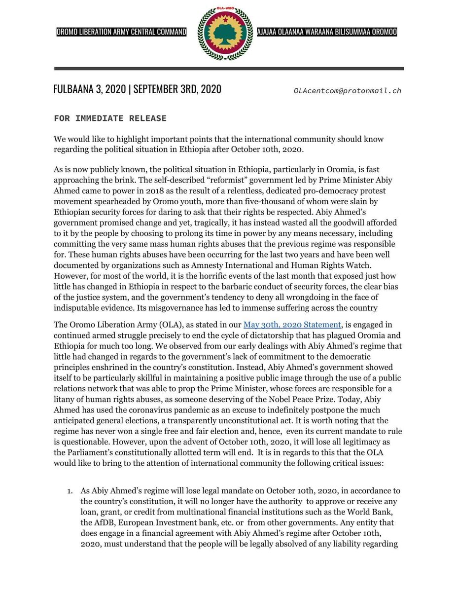 """OLA/WBO Central Command's message to the """"Prosperity"""" Party Regime of Abiy Ahmed on the continued struggle for armed resistance against his tyrannical regime.  #WBO/#OLA #ABO/#OLF https://t.co/K3LlWehvpj"""