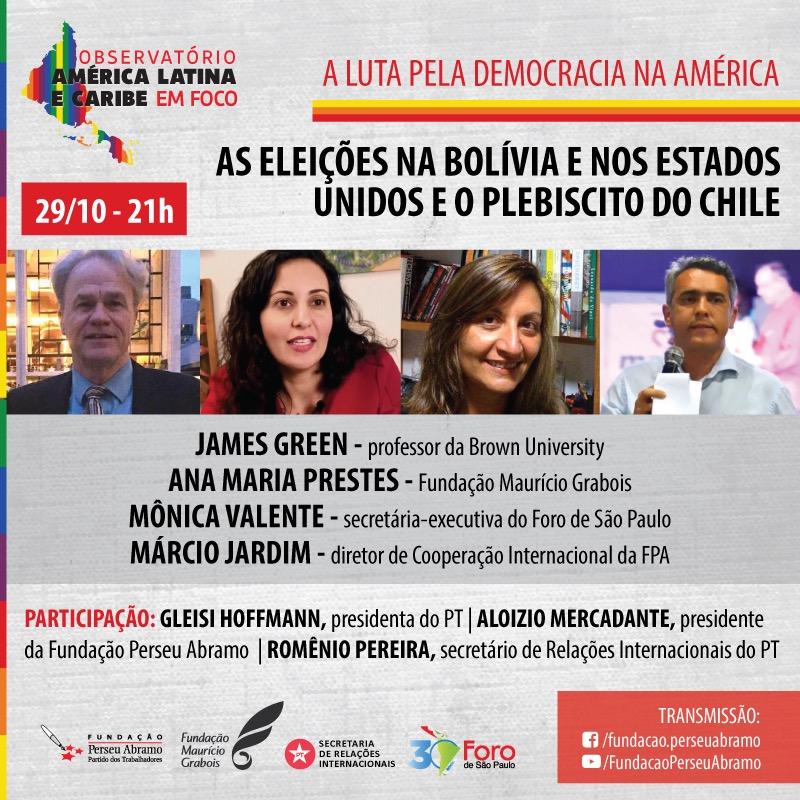 A FPA, a Fundação Maurício Grabois, a Secretaria de Relações Internacionais do @ptbrasil (SRI-PT) e o @ForodeSaoPaulo realizarão amanhã, 29/10, às 21h, o debate de lançamento do Observatório América Latina e Caribe em Foco. Assista ao vivo em https://t.co/ecAcTQBQ63 https://t.co/Y70qfySMFO