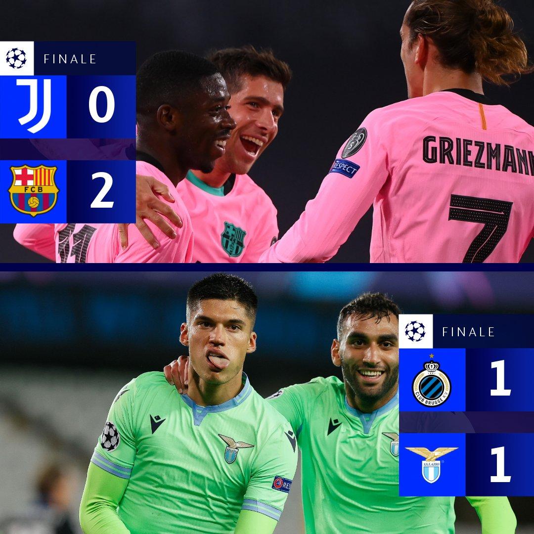 La Juventus perde contro il Barcellona, pari per la Lazio ❌  #UCL https://t.co/DOayprbyh6