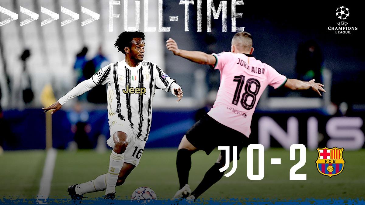 FULL-TIME #JuveBarça termina 0-2 per i catalani. #JuveUCL https://t.co/3YFEDOBpgK