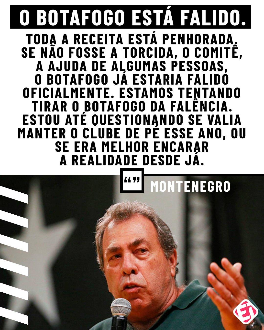 """Esporte Interativo (de 🏠) on Twitter: """"'O CLUBE ESTÁ FALIDO' Membro do  comitê executivo do @Botafogo, Montenegro abriu o jogo sobre a SITUAÇÃO  DELICADA do Alvinegro.… https://t.co/mfScABMlSd"""""""