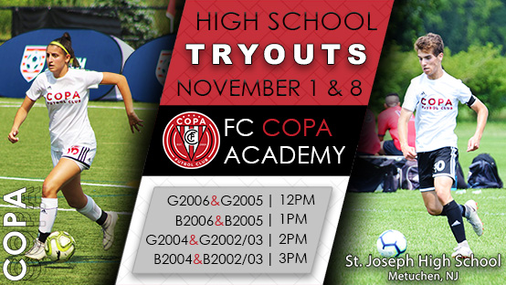 🚨ATTENTION HS AGE PLAYERS | TRYOUT TIMES FOR NOV. 1st & 8th.  Register here: https://t.co/v1u7veSRbm  For more information please visit https://t.co/u75DHZm90N.  #TheCopaWay #WeAreCopa #youthsoccer #youthsports #njsoccer #soccertryouts #fccopa #soccer #nysoccer #tryouts https://t.co/iirSwZJf7Y