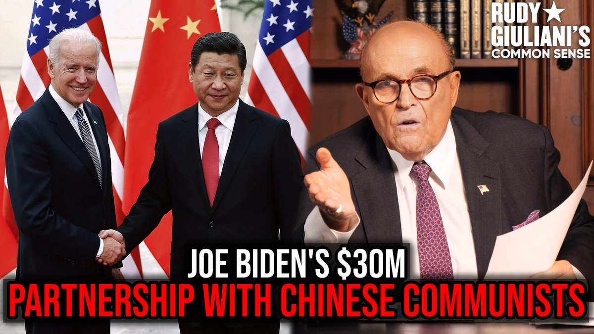 Every time #JoeBiden tells us how great China is..  I remember what @RudyGiuliani has proved inconclusively:  Joe Biden partnered with Chinese Communists to the tune of $30 MILLION