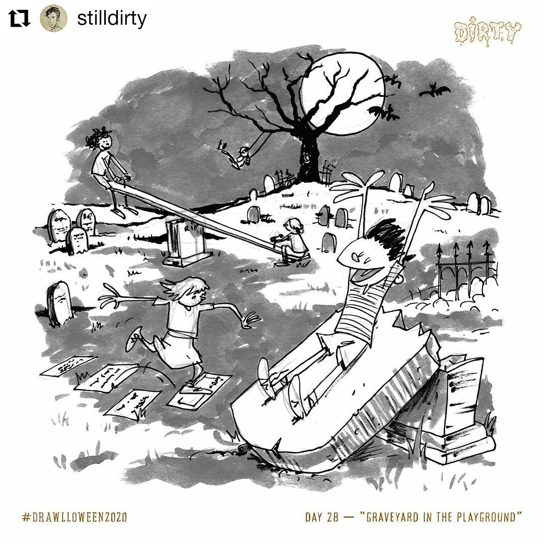 "#Repost @stilldirty •  Hamburg, Germany  Day 28 ""Graveyard in the Playground"" #graveyardintheplayground #Drawlloween2020 @Drawlloween #Drawlloween #Halloween #Halloween2020 #artchallenge #drawingchallenge #ink #inking #illustration #comic #cartoon #draw #art #arte #Kunst"