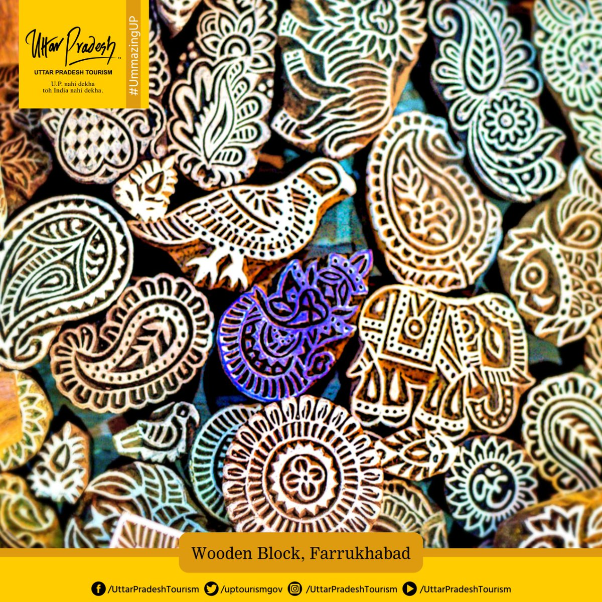 Farrukhabad is known for its block printing (made of wood & brass). These blocks are used on various items including blanket covers, shawls, sarees, suits, scarfs, etc. One can visit & enjoy the colorful magic of block printing here. #DekhoApnaDesh #Vocal4Local  @uptourismgov