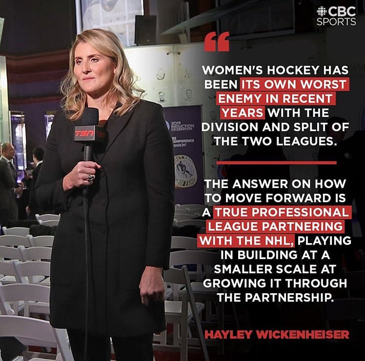 The fate of women's professional 🏒 depends greatly on the #NHL's willingness to underwrite the new league like the #NBA did for the #WNBA, but Wick isn't the 🥇 person to voice that. People around the game have been saying it for a decade. 🤷🏻‍♂️ #help #dosomething #girlscanplaytoo https://t.co/Hce8aaCUPY