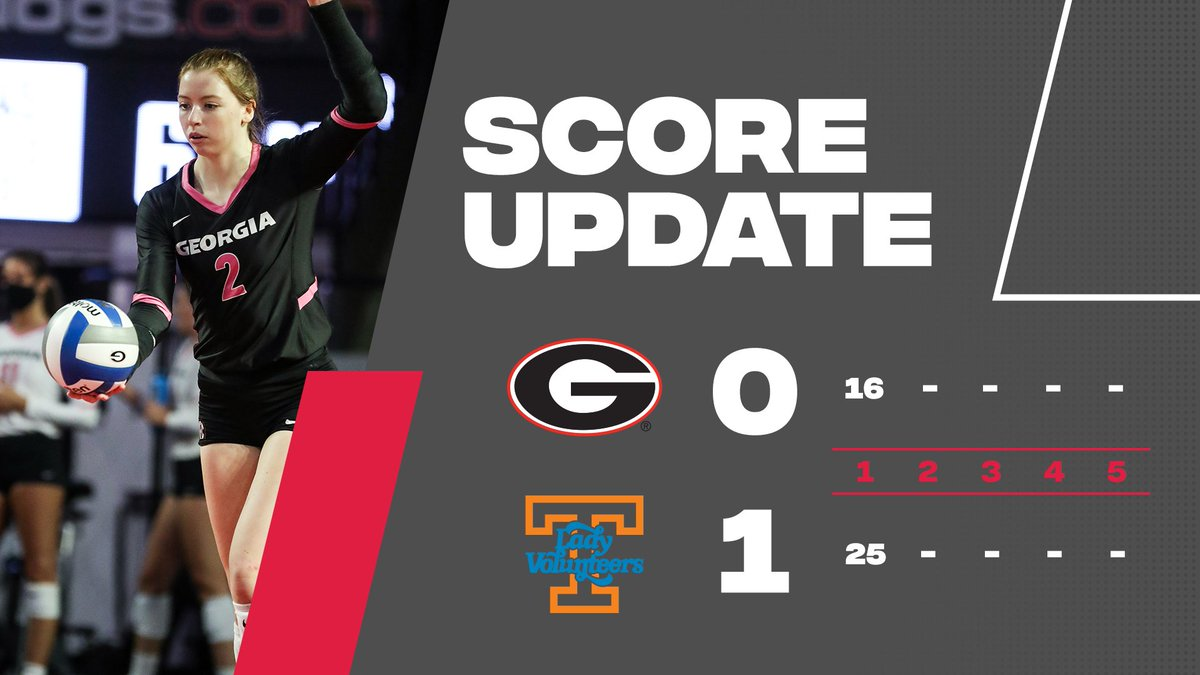 Tennessee takes the first set of the match.   After 1️⃣ 🐶 0 🔶 1  #GROW | #GoDawgs https://t.co/5H9bZ0J2kF