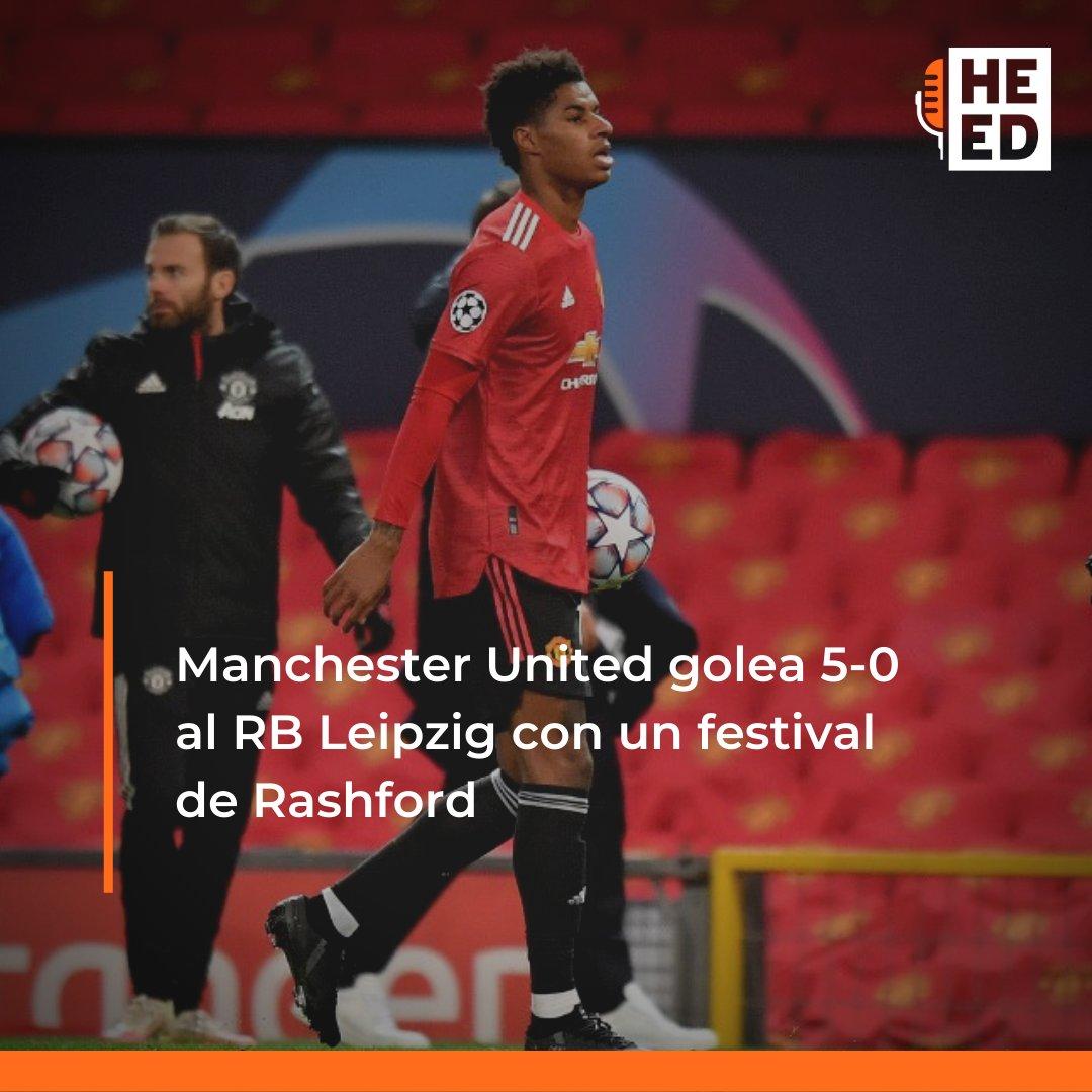 ⚽️El Manchester #United goleó 5-0 al RB Leipzig, con triplete de Marcus Rashford, este miércoles en partido de la segunda jornada de la Liga de Campeones, y suma 3 puntos que permiten a los ingleses liderar el grupo H⚽️  #HoyEnElDeporte   https://t.co/ZgUKhea7Vs https://t.co/z20A3Tldv6