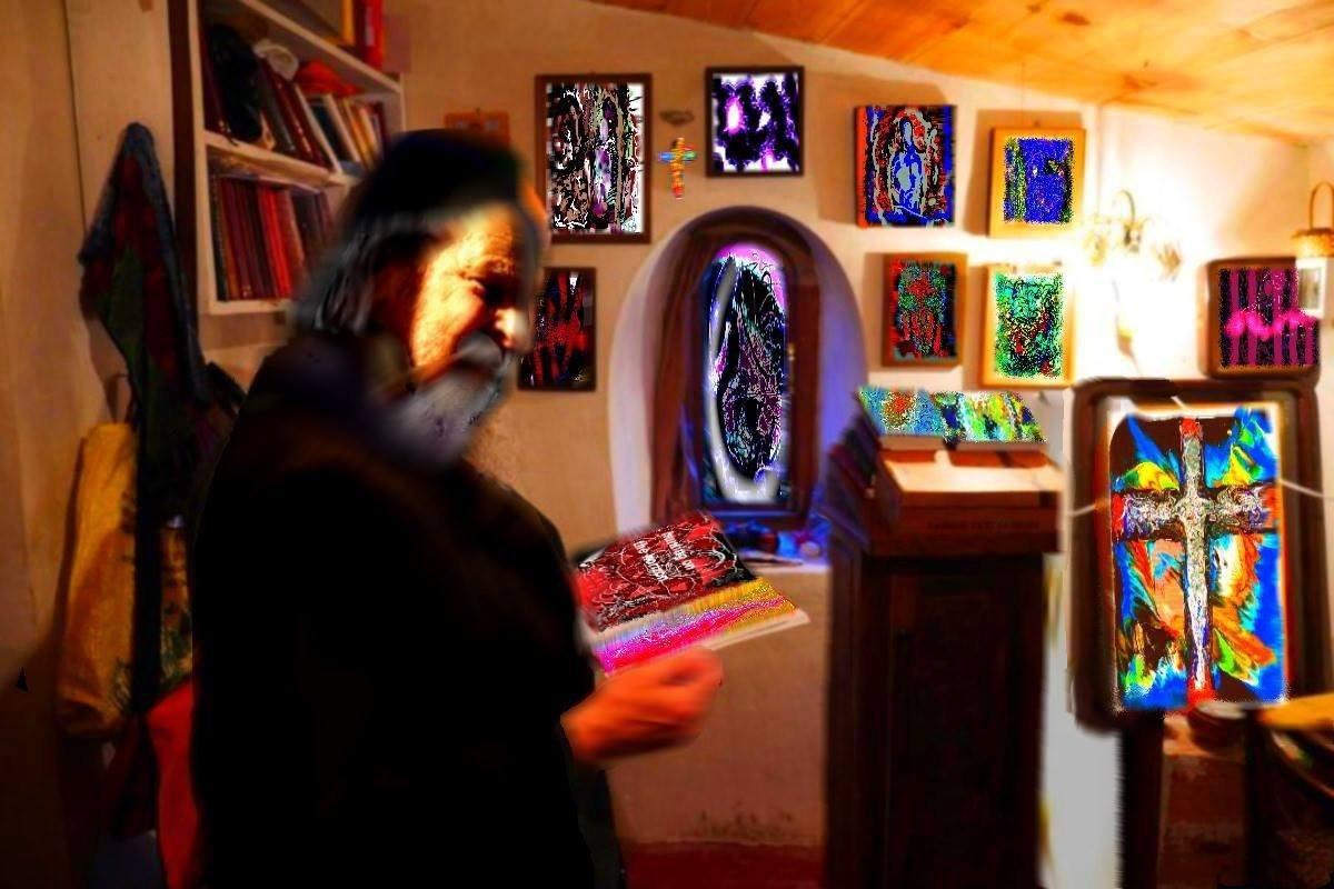 THE MONK, SIMCHA BRIAN ADAM, AMONGST HIS WORK. #Monk #workspace #QuietTime #domain #Sanctuary #contemporaryart #Mysticism https://t.co/yWRwEDDfEg