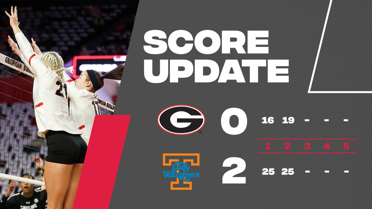 Dawgs go down two sets in this first match in Knoxville.   After 2️⃣ 🐶 0 🔶 2  #GROW | #GoDawgs https://t.co/SwJOK2S794