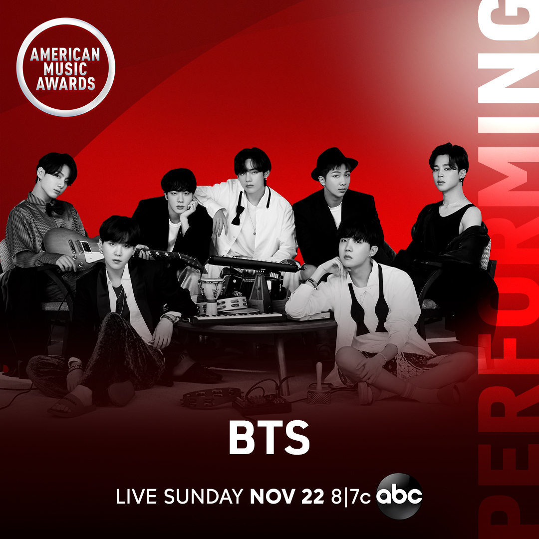 "LISTEN UP, ARMY! @BTS_twt will make the TV debut of their highly anticipated new single, and perform their record breaking hit ""Dynamite"" at the 2020 #AMAs! Dont miss it, November 22nd at 8/7c on ABC."
