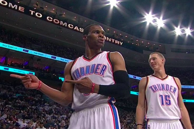 OTD IN 2016: The beginning of history. Russell Westbrook dropped the first of 42 triple doubles (NBA Record) in an 82 game season.  51 Points 13 Rebounds 10 Assists  Russ finished the season with 4 games with 50+ PTs. He got a triple double in 3 of those 50 point games. https://t.co/H0aS54RD8s