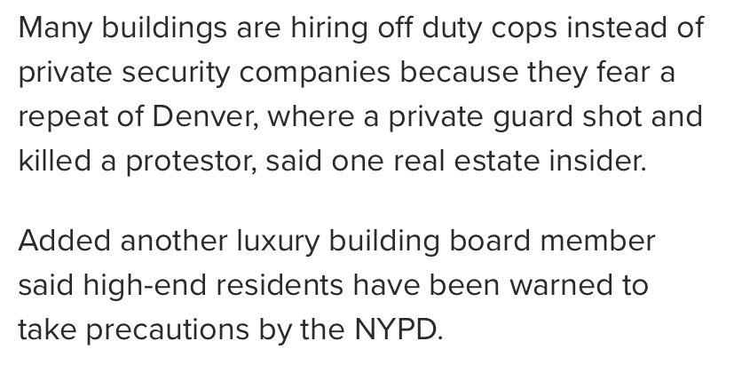 Confused how all these super lux buildings are hiring off-duty cops when the NYPD keeps saying the entire force may need to deploy for protests