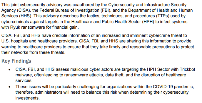 NEW: FBI warns of 'imminent' ransomware threat against medical facilities https://t.co/EfTfWDcvQK https://t.co/ZTLs0zyGHu