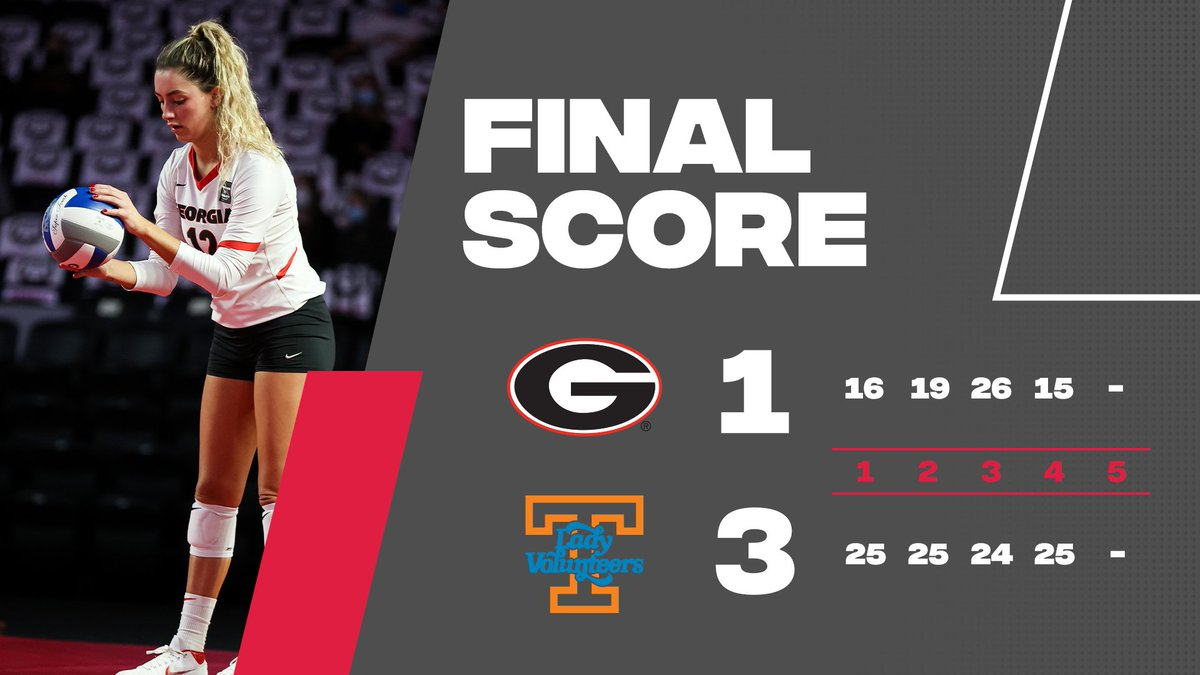 Final score from Knoxville: Georgia falls to Tennessee in four sets.   The Dawgs get another shot at the Lady Vols tomorrow at 7 p.m., ET, on SEC Network.   #GROW | #GoDawgs https://t.co/Mn06GhbenE