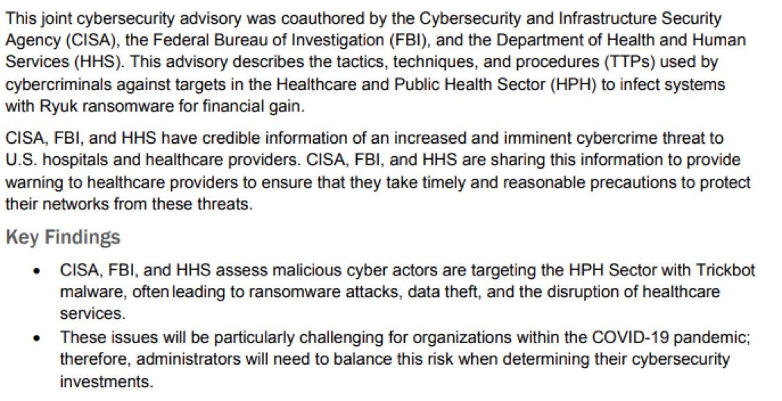 #FBI warns of 'imminent' #ransomware threat against medical facilities https://t.co/1LQkb8rwz1… #hospitals #healthcare #CyberSecurity #hackers @IrmaRaste @eViRaHealth @MedigateLtd https://t.co/t25JRBeAAS