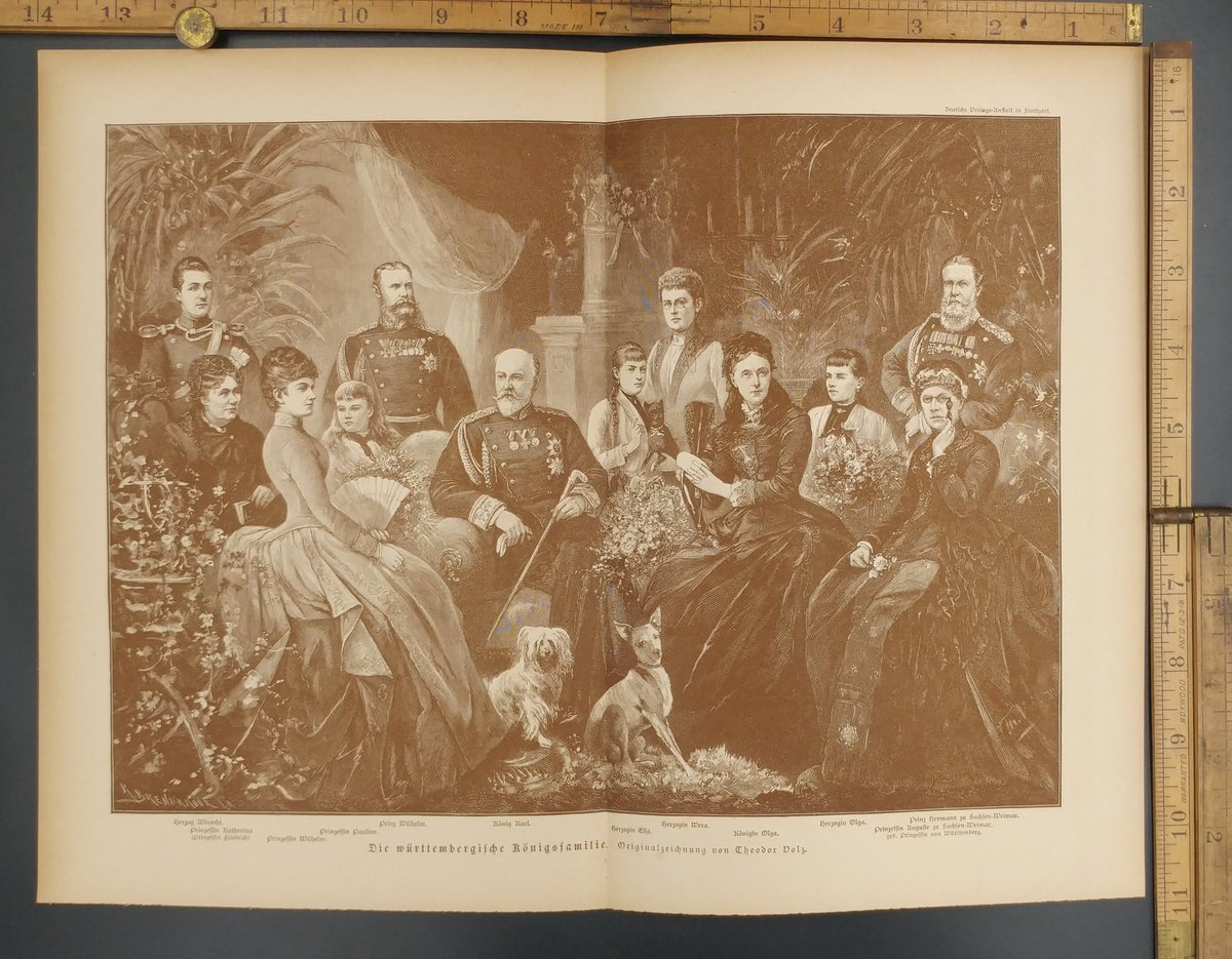 https://t.co/LbpVK8qiuv #Germany #Princess #RoyalFamily #King #Queen  $30 The Württemberg royal family. Original drawing by Theodor Dolz. Duke Albrecht, Prince Wilhelm, King Karl, Queen Olga, Princess Katherina and Pauline. Original Antique German magazine print from 1889. https://t.co/CMkY7c0Hka