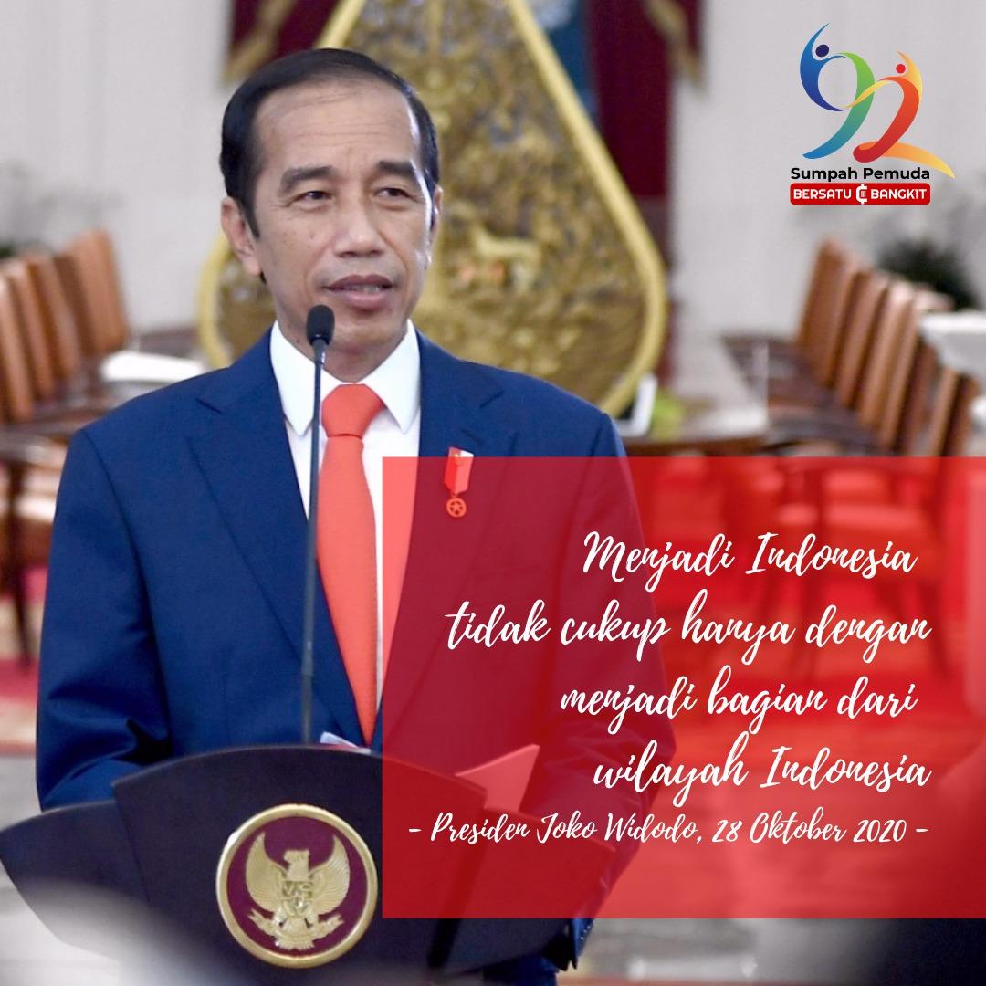 Dalam memperingati hari Sumpah Pemuda, Presiden menyampaikan bahwa unk menjadi Indonesia tdk cukup hanya dg menjadi bagian dari wilayah indonesia. Dengan merawat kerukunan dan kerja sama, toleransi dan saling menghargai.  #jokowi #indonesiamaju https://t.co/AOIzrcmVan