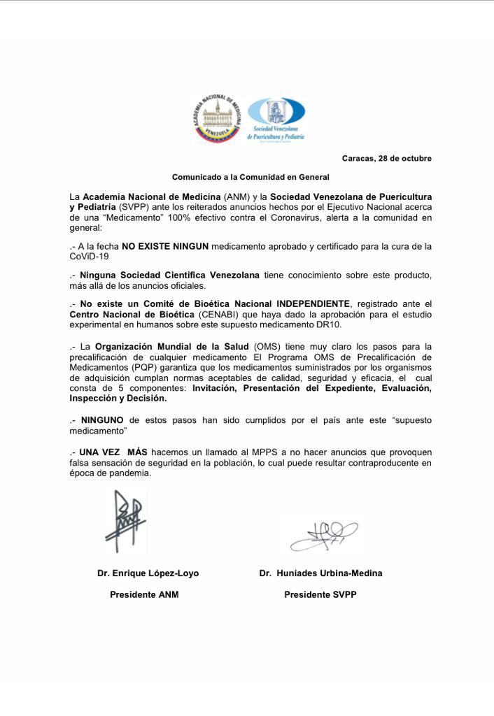 EL MEDICAMENTO CONTRA EL CORONAVIRUS ANUNCIADO POR NICOLÁS MADURO ES PURO MOJÓN..! Lo desmintió la Academia Nacional de Medicina y la Sociedad Venezolana de Puericultura Pediatría por medio de un comunicado. #Venezuela #Vzla #Ivic #Covid19 #Caracas #Ccs #28oct #29oct #OMS Ver 👇 https://t.co/OFtgFcYQNf