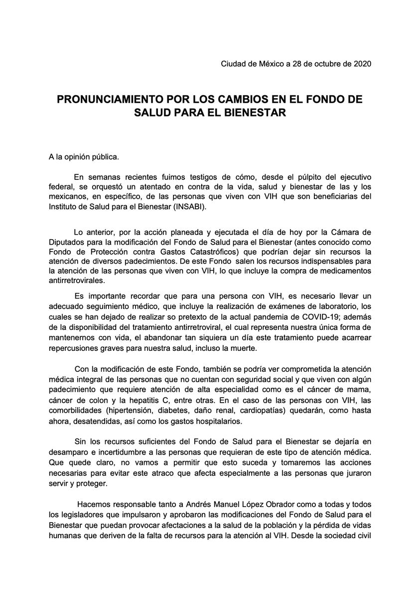 @senadomexicano  ELIMINAR EL FONDO DE SALUD, ATENTA CONTRA LA VIDA Y EL BIENESTAR DE PERSONAS DEL INSTITUTO DE SALUD PARA EL BIENESTAR (INSABI), EN ESPECIAL QUIENES VIVEN CON #VIH, #CANCER, DAÑO RENAL ENTRE OTRAS https://t.co/SczamrX10H