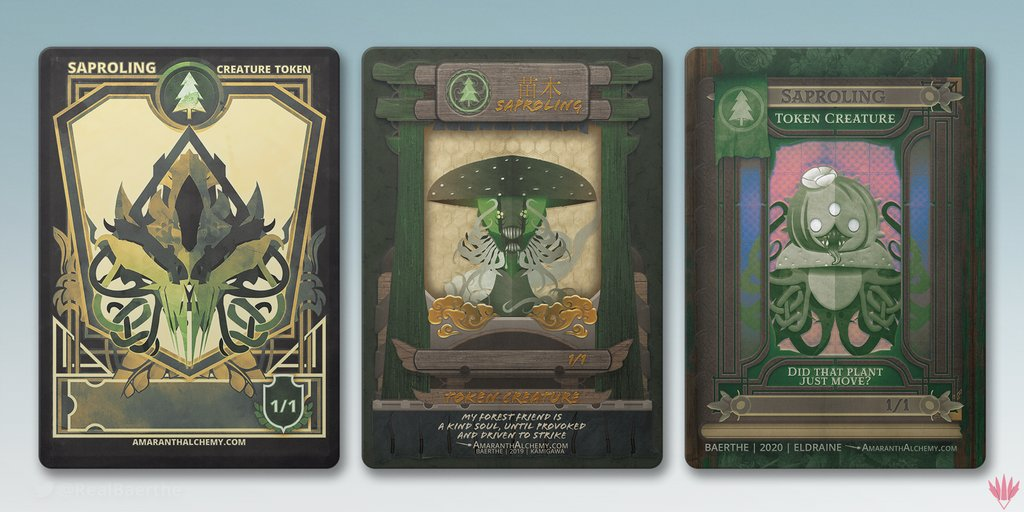 Got a thing for saprolings? I'm your guy! Feast your eyes on these delectable plant guys! You can acquire different token and sticker designs every month by becoming a patreon!  Patreon: https://t.co/H2fH3WVFy1 TokensForMTG: https://t.co/H7XgSZ8rjr  #MTG #MTGtokens #Design #art https://t.co/t2rwpery8j
