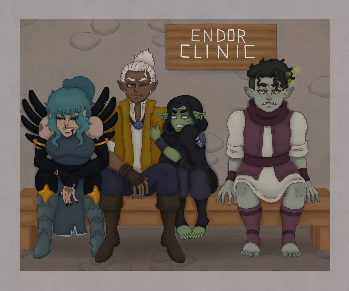#Gobtober #23 Plague   The party makes a stop at the local clinic after their tussle. Grunk tries to distance himself from a rather ill looking orc youth.  #dungeonsanddragons #dnd #dndart #goblin #oc #originalcharacter #krita #inktoberalternative https://t.co/H10cy7qyvw