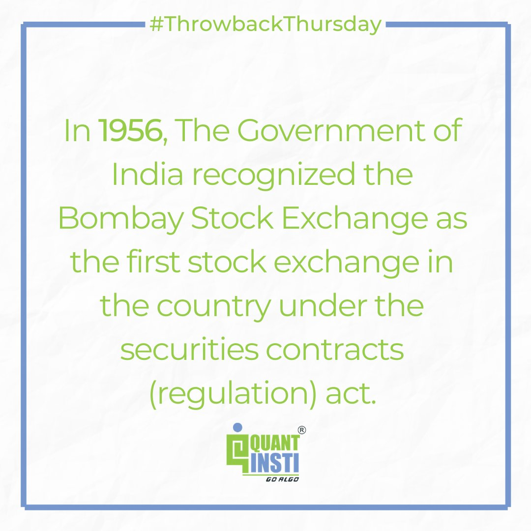 This #ThrowbackThursday, here's an interesting fact from the pages of history about The Bombay Stock Exchange (BSE).  #programming #trading #finance #stockmarket #financialliteracy #BSE #tbt #throwback https://t.co/gnRBCcOqXX