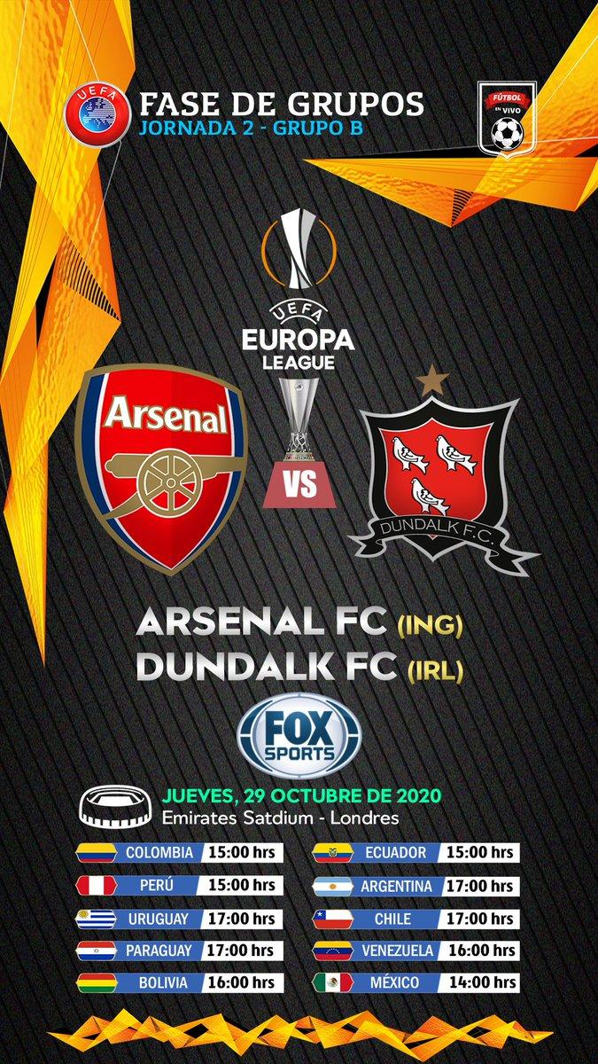JUEVES 📺▶#UELxFOX  @Arsenal 🏴 🆚 🇮🇪 @DundalkFC  Relata:🎙 @Gustavo_Cima Comenta:🎙 @javitabares  📺💻📱▶(Excepto 🇨🇱)   #EuropaLeague #UEL ⚽🏆 https://t.co/8zwuofwMMP