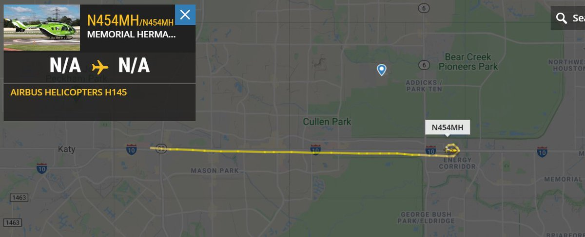 Memorial Hermann Life Flight H145 helo departed the Katy Hospital and appears to have made a stop near MD Anderson West Houston, along I-10 #HouNews #avgeek https://t.co/8vlysE3GyW