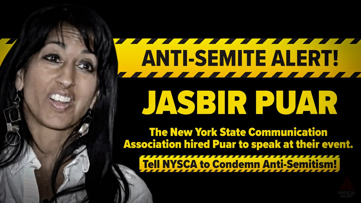 Jasbir Puar @jkpuar is a radical leftist educator who has a history of spewing anti-Semitic hate speech. @NYStateComm is complicit to Puars anti-Semitism and hired her to be the keynote speaker at their event. Hold Puar accountable, sign the petition ➡️bit.ly/JasbirPuar