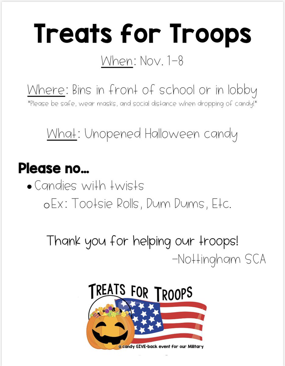 Have a safe and Happy Halloween! Knights - think about donating some of your candy to Treats for Troops November 1-8th at Nottingham! <a target='_blank' href='http://search.twitter.com/search?q=treatsfortroops'><a target='_blank' href='https://twitter.com/hashtag/treatsfortroops?src=hash'>#treatsfortroops</a></a> 🇺🇸 🍭 🎃 🍬 🍫 <a target='_blank' href='http://twitter.com/NTMKnightsAPS'>@NTMKnightsAPS</a> <a target='_blank' href='http://search.twitter.com/search?q=knightsrock'><a target='_blank' href='https://twitter.com/hashtag/knightsrock?src=hash'>#knightsrock</a></a> <a target='_blank' href='http://twitter.com/NottinghamPTA'>@NottinghamPTA</a> <a target='_blank' href='https://t.co/tD630kKHNJ'>https://t.co/tD630kKHNJ</a>
