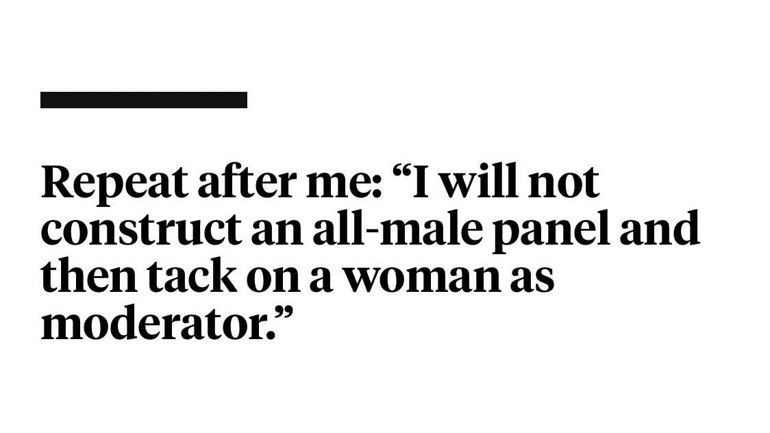 """""""Don't worry, the moderator is female"""" Panelists are asked for their opinions, their insights, their expertise — while good moderators never make it about themselves. Both are important roles, but they're not equal. #ManelWatch foreignpolicy.com/2016/03/08/7-r…"""